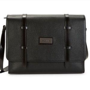 NWT Valentino Pebbled Leather Messenger Bag Black